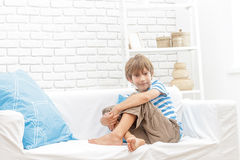 Portrait of young child boy at home Royalty Free Stock Image