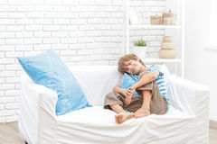 Portrait of young child boy at home Stock Images