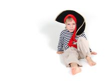 Portrait of young child dressed as pirate Stock Images