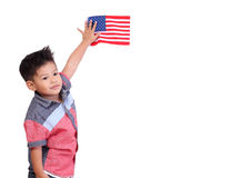 Portrait of a young child holding the American flag isolated on. White background Stock Image
