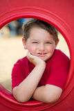 Portrait of young child on playground stock photography