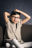 Portrait of young child with Rett syndrome Stock Photos