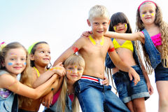 Portrait of young children. On a camping holiday Stock Image