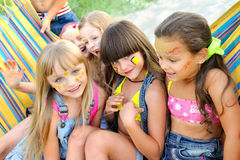 Portrait of young children. On a camping holiday Royalty Free Stock Photos
