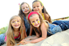 Portrait of young children. On a camping holiday Royalty Free Stock Photo