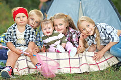 Portrait of young children. On a camping holiday Stock Photography