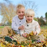 Portrait Young Children Outside in Fallen Autumn Leaves Royalty Free Stock Photos
