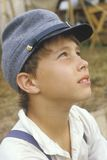 Portrait of young Civil War participant in camp scene during recreation of Battle of Manassas, Virginia Stock Photo