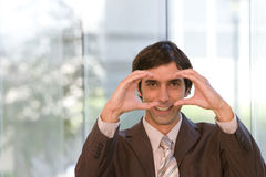Portrait of young confident business man in focus Stock Images