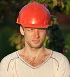Portrait of young construction worker Stock Photo