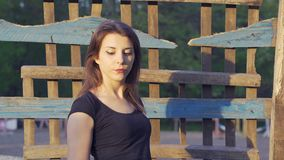Portrait of a young country woman with dark brown hair and in a black T-shirt, shot in the countryside. Close-up. Sunset stock video footage