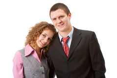 Portrait of a young couple. Isolated over white Stock Image