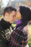 Portrait of young couple in autumn outdoo Royalty Free Stock Photo