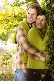 Portrait of young couple in autumn park Royalty Free Stock Images
