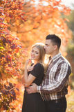 Portrait of a young couple in autumn Park Stock Image