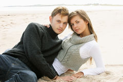 Portrait Of Young Couple On Beach Royalty Free Stock Image