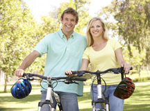 Portrait Of Young Couple On Bike Ride Royalty Free Stock Images