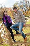 Portrait of a young couple in the countryside Royalty Free Stock Photo