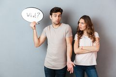 Portrait of a young couple having an argument royalty free stock image