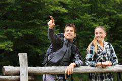 Portrait of young couple hikers Stock Image