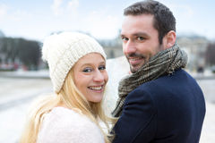 Portrait of a young couple on holidays in the city Royalty Free Stock Photo