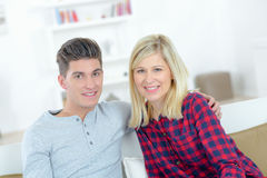 Portrait young couple at home Stock Images