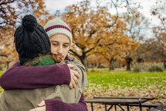 Portrait young couple hugging in an autumn background. Back view Stock Image