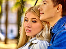 Portrait of young couple hugging  in  autumn park Stock Images