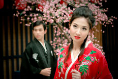 Portrait of young couple in japan dress Royalty Free Stock Photo