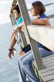 Portrait of young couple looking at the horizon Stock Photos