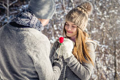 Portrait of young couple in love with lollipop Royalty Free Stock Images