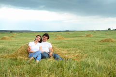 Portrait of a young couple in love outdoors Royalty Free Stock Photos