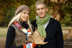 Portrait of young couple outdoors at autumn Stock Photography