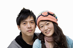 Portrait of young couple over white background Royalty Free Stock Images