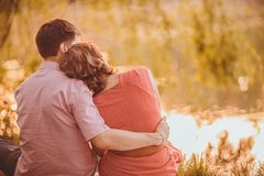 Portrait of young couple in park Royalty Free Stock Photo