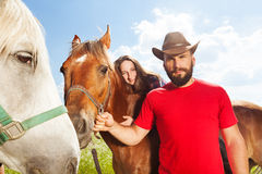 Portrait of young couple riding beautiful horses Stock Photos