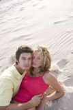 Portrait of young couple in sand, high angle view royalty free stock photography