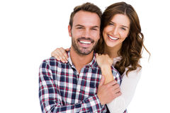 Portrait of young couple smiling. On white background Stock Photo