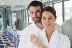 Portrait of a young couple in spa center relaxing Royalty Free Stock Photography