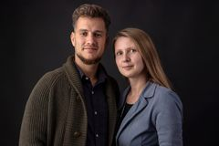 Portrait of a young couple in studio royalty free stock photo