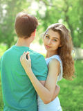 Portrait young couple teenagers, girl and boyfriend stock photos