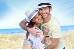 Portrait of young couple of tourists on holidays being happy Royalty Free Stock Photo