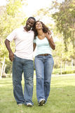 Portrait Of Young Couple Walking In Park. Smiling Stock Images