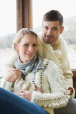 Portrait of a young couple in winter clothing Stock Images