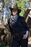Portrait of the young cowgirl Stock Photo