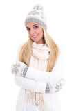 Portrait of young cute beautiful woman in winter clothes isolate Stock Photo