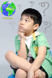 Portrait of young cute boy , Save the world concept Royalty Free Stock Photos