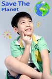 Portrait of young cute boy, Save the world concept Royalty Free Stock Photo