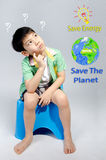 Portrait of young cute boy, Save the world concept Stock Photography