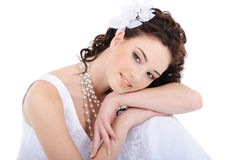 Portrait of young cute bride stock images